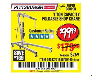 $99.99 1 Ton Capacity Foldable Shop Crane