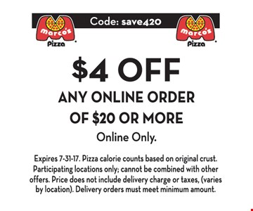 $4 off any online order