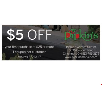 $5 off your first purchase of $25 or more