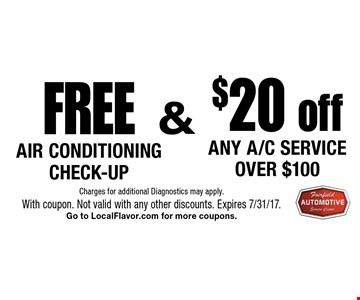 FREE AIR CONDITIONING CHECK-UP & $20 off Any A/C Service over $100.  Charges for additional Diagnostics may apply.With coupon. Not valid with any other discounts. Expires 7/31/17.Go to LocalFlavor.com for more coupons.