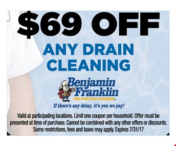 $69 off any drain cleaning