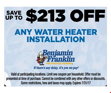$213 off any water heater installation
