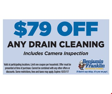$79 Off Any Drain Cleaning