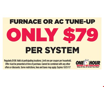 Furnace Or A/C Tune-Up Only $79 Per System