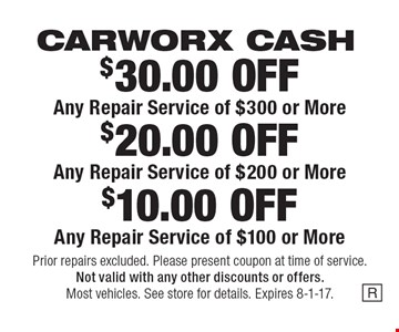 CARWORX CASH. $10.00 OFF Any Repair Service of $100 or More. $20.00 OFF Any Repair Service of $200 or More. $30.00 OFF Any Repair Service of $300 or More. Prior repairs excluded. Please present coupon at time of service. Not valid with any other discounts or offers. Most vehicles. See store for details. Expires 8-1-17.