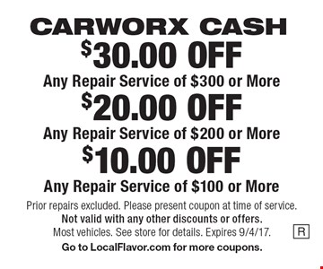 CARWORX CASH $10.00 OFF Any Repair Service of $100 or More. $20.00 OFF Any Repair Service of $200 or More. $30.00 OFF Any Repair Service of $300 or More. Prior repairs excluded. Please present coupon at time of service.Not valid with any other discounts or offers. Most vehicles. See store for details. Expires 9/4/17. Go to LocalFlavor.com for more coupons.