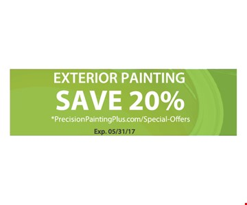 Exterior painting save 20%