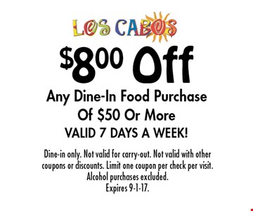 $8.00 Off Any Dine-In Food Purchase Of $50 Or More Valid 7 Days A Week!. Dine-in only. Not valid for carry-out. Not valid with other coupons or discounts. Limit one coupon per check per visit. Alcohol purchases excluded. Expires 9-1-17.