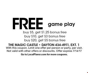 FREE game play. With this coupon. Limit one offer per person or party, per visit. Not valid with other offers or discounts. Offer expires 7/14/17. Go to LocalFlavor.com for more coupons.