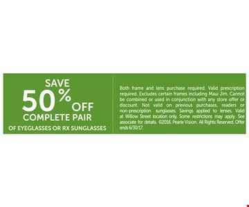 Save 50% off complete pair of eyeglasses or RX sunglasses