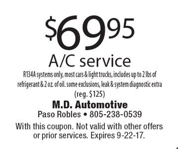 $69.95 A/C service R134A systems only, most cars & light trucks, includes up to 2 lbs of refrigerant & 2 oz. of oil. some exclusions, leak & system diagnostic extra (reg. $125). With this coupon. Not valid with other offers or prior services. Expires 9-22-17.
