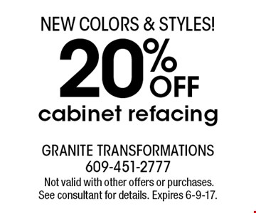 20% OFF cabinet refacing. Not valid with other offers or purchases. See consultant for details. Expires 6-9-17.