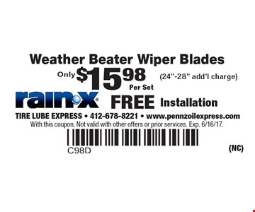 Only $15.98 Per Set Weather Beater Wiper Blades (24
