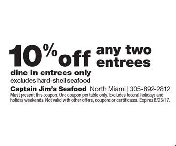 10% off any two entrees. Dine in entrees only. Excludes hard-shell seafood. Must present this coupon. One coupon per table only. Excludes federal holidays and holiday weekends. Not valid with other offers, coupons or certificates. Expires 8/25/17.