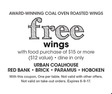 free wings with food purchase of $15 or more ($12 value) - dine in only. With this coupon, One per table. Not valid with other offers. Not valid on take-out orders. Expires 6-9-17.