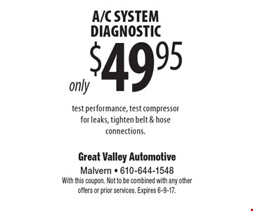 A/C SYSTEM DIAGNOSTIC only $49.95, test performance, test compressor for leaks, tighten belt & hose connections. With this coupon. Not to be combined with any other offers or prior services. Expires 6-9-17.