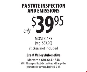 Only $39.95 PA State Inspection And Emissions Most Cars (reg. $83.90) stickers not included. With this coupon. Not to be combined with any other offers or prior services. Expires 6-9-17.