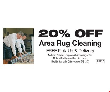 20% OFF Area Rug Cleaning. FREE Pick-Up & Delivery. No limit. Present coupon with incoming order. Not valid with any other discounts. Residential only. Offer expires 7/31/17.