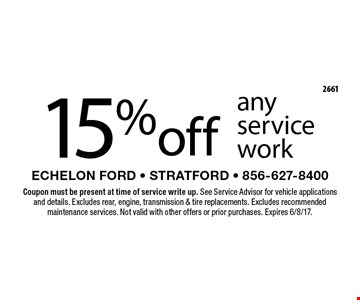 15% off any service work. Coupon must be present at time of service write up. See Service Advisor for vehicle applications and details. Excludes rear, engine, transmission & tire replacements. Excludes recommended maintenance services. Not valid with other offers or prior purchases. Expires 6/8/17.