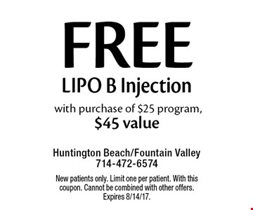 Free Lipo B Injection with purchase of $25 program, $45 value. New patients only. Limit one per patient. With this coupon. Cannot be combined with other offers.Expires 8/14/17.