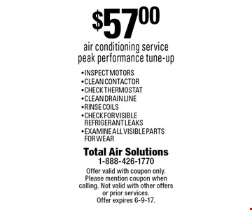 $57.00 air conditioning service peak performance tune-up - INSPECT MOTORS - CLEAN CONTACTOR- CHECK THERMOSTAT- CLEAN DRAIN LINE - RINSE COILS- CHECK FOR VISIBLE 
