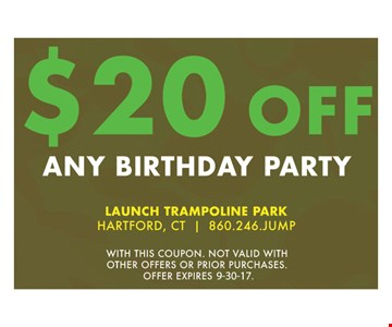 $20 Off Any Birthday Party