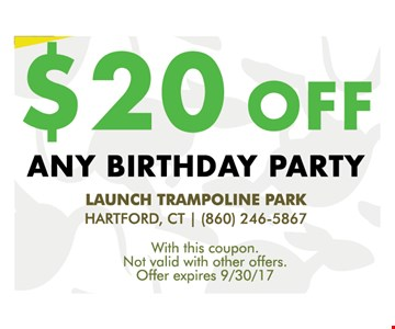 $20 off any birthday party