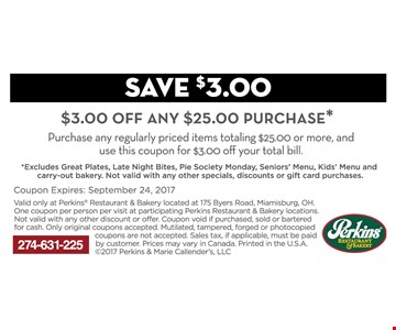 $3 off any $25 purchase