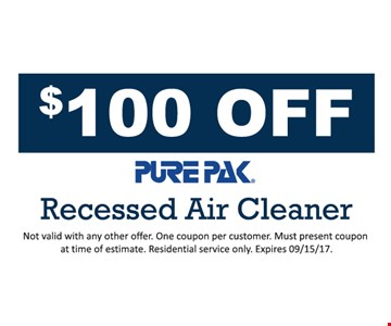 $100 off Recessed Air Cleaner