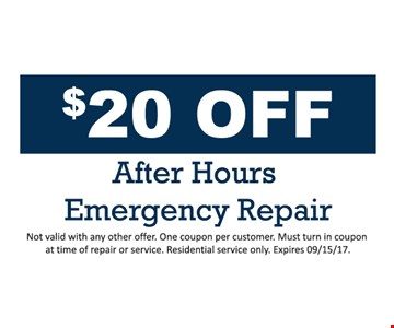 $20 Off after hours emergency repair