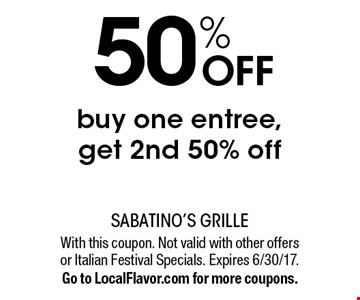 50% off. Buy one entree, get 2nd 50% off. With this coupon. Not valid with other offers or Italian Festival Specials. Expires 6/30/17.Go to LocalFlavor.com for more coupons.