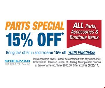 15% off parts special