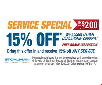 Service special 15% off*