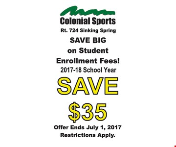 Save $35 On Student Enrollment Fees 2017-18 School Year