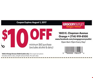 $10 off purchase of $60