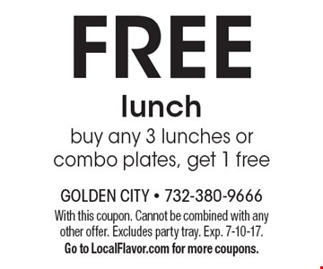 Free lunch buy any 3 lunches or combo plates, get 1 free. With this coupon. Cannot be combined with any other offer. Excludes party tray. Exp. 7-10-17.Go to LocalFlavor.com for more coupons.