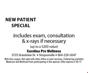new patient special $25 includes exam, consultation  & x-rays if necessary (up to a $200 value). With this coupon. Not valid with other offers or prior services. Federal law prohibits Medicare and Medicaid from participating in this special. Offer expires 6-30-17.