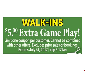 $5.00 Extra Game Play