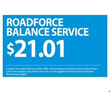 Roadforce Balance service  $21.01