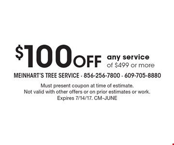 $100 Off any service of $499 or more. Must present coupon at time of estimate. Not valid with other offers or on prior estimates or work. Expires 7/14/17. CM-JUNE