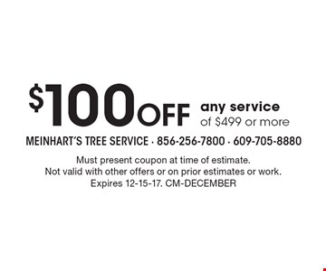 $100 Off any service of $499 or more. Must present coupon at time of estimate. Not valid with other offers or on prior estimates or work. Expires 12-15-17. CM-DECEMBER