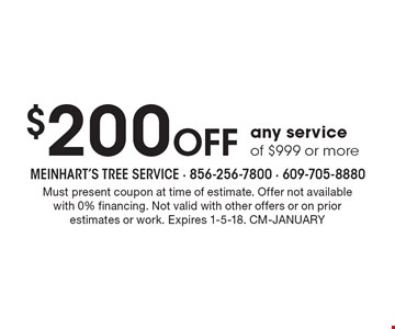 $200 Off any service of $999 or more. Must present coupon at time of estimate. Offer not availablewith 0% financing. Not valid with other offers or on prior estimates or work. Expires 1-5-18. CM-January