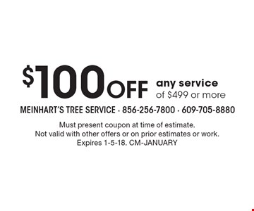 $100 Off any service of $499 or more. Must present coupon at time of estimate. Not valid with other offers or on prior estimates or work. Expires 1-5-18. CM-January