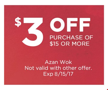 $3 off any purchase of $15 or more