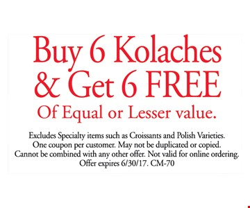 Buy 6 Kolaches and get 6 free