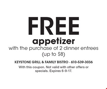 Free appetizer with the purchase of 2 dinner entrees (up to $8). With this coupon. Not valid with other offers or specials. Expires 6-9-17.