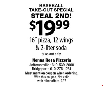 Baseball Take-Out Special. Steal 2nd! $19.99 16