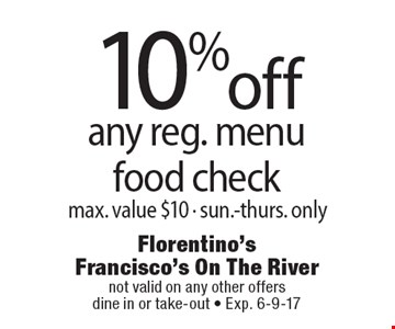 10% off any reg. menu food check, max. value $10 - sun.-thurs. only. not valid on any other offers. dine in or take-out - Exp. 6-9-17