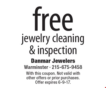 free jewelry cleaning & inspection. With this coupon. Not valid with other offers or prior purchases. Offer expires 6-9-17.