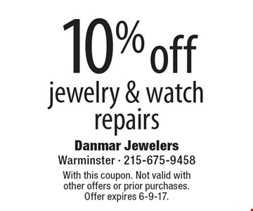 10% off jewelry & watch repairs. With this coupon. Not valid with other offers or prior purchases. Offer expires 6-9-17.